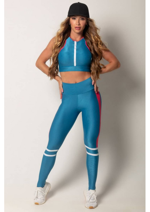 Legíny s vysokým pásom Run Blue Pink Hipkini
