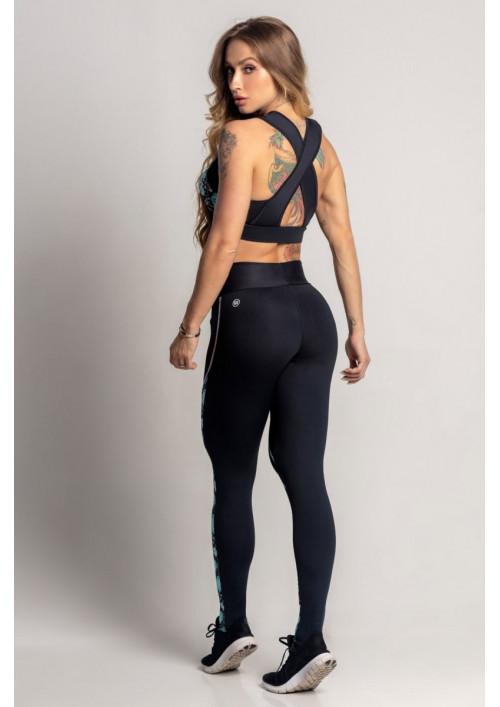Kvetované legíny Dream Fitness Black with Floral