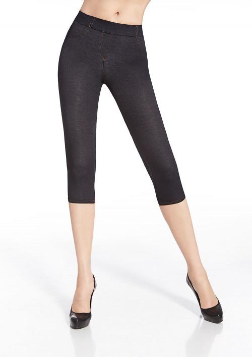 Riflová dámske legíny BLANKA indygo-jeans krátke